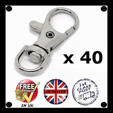 40 x Small Silver tone Lobster Trigger Swivel Clasps for Keyring Hook 37 x 16mm