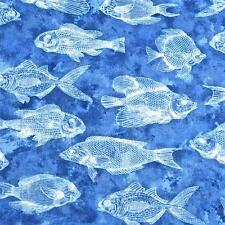 Cotton Fabric, Per Yard, Blue Fish in a Blue Ocean by Robert Kaufman
