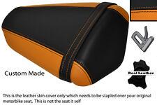 ORANGE & BLACK CUSTOM FITS KAWASAKI NINJA ZX6 R 09-13 PILLION LEATHER SEAT COVER