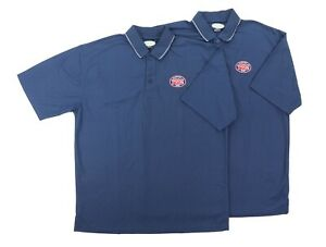 """Lot of (2) Jersey Mikes Men XL 48"""" Polo Shirts Uniform Employee Blue Polyester"""