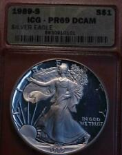 > 1989-s  PROOF AMERICAN SILVER EAGLE DOLLAR, Certified PF69, Beautiful Coin