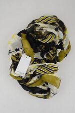 Hüftgold Tuch Schal schwarz gelb Viskose Krokodile scarf neu mit Etikett