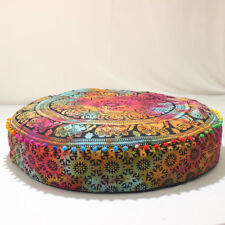 "35"" Indian Multi Mandala Floor Pillow Throw Case Round Boho Cushion Cover Case"