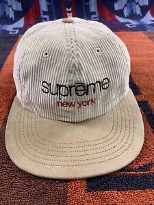 Supreme Hat Corduroy Khaki Tan Strap Back New York Cap Suede Bill