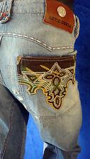ANTIK denim USA destroyed western cowboy embroidered jean 36 camouflage distress