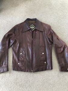 Men's Leather Jacket Brown Size M