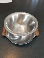 Vintage one  piece INTERPUR 18-8 Stainless Steel Gravy Bowl Wooden Handles JAPAN