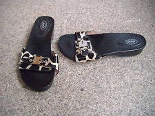DR SCHOLL'S LADIES BLACK AND GOLD WOODEN SANDALS SIZE UK 4 EUR 37