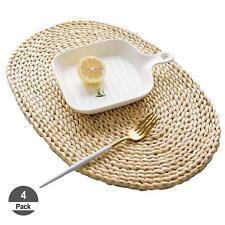 4 Pack Natural Hot Insulation Straw Woven Placemat Wooden Oval Braided table Mat