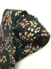 Vintage Necktie Neck Tie Black Red Gold Tree Branch Jacquard Intricate Weave Hip