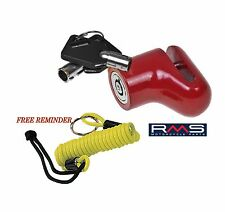 MOTORBIKE MOTORCYCLE BIKE SCOOTER DISC LOCK (RED) LOCK REMINDER - R.M.S