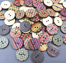 DIY 50X Round Wooden Printing buttons crafts Sewing decoration Scrapbooking 20mm