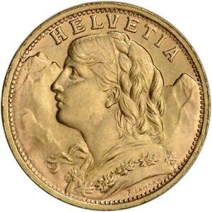 1947 Swiss Helvetia GOLD COIN 20 FRANC (.1867 oz)