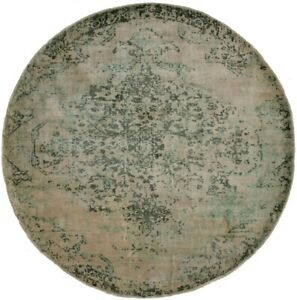 Olive Distressed Floral Modern 6X6 Hand-Loomed Round Rug Contemporary Carpet
