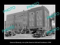 OLD LARGE HISTORIC PHOTO OF SOMERSET KENTUCKY, THE COURT HOUSE & JAIL c1940