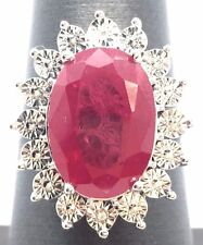 Sterling Silver 925 Oval Opaque Red Ruby Sun Flower Petals Cocktail Band Ring