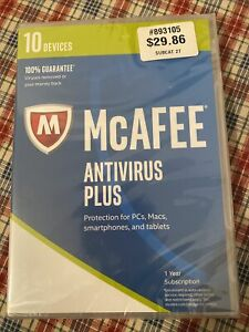 Mcafee Antivirus Plus. Sealed package. 10 devices.
