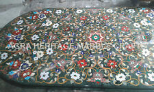 6'x4' Green Marble Dining Center Table Top Marquetry Inlay Multi Home Decor E343