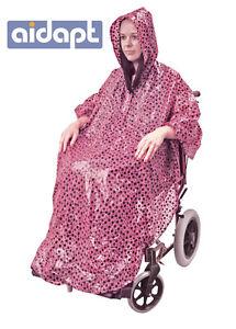 Aidapt Wheelchair Poncho Waterproof Cover With Hood Rain Coat Pink
