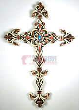 Distressed Beaded Decorative Wall Hanging Cross Off-White Fleur De Lis Decor