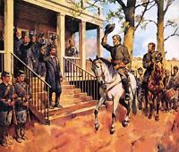 Gen Lee &  Horse Traveller Surrender Civil War Painting Real Canvas Art Print