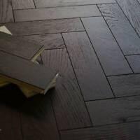 "Traditional 12"" Black Walnut Engineered Oak Herringbone Parquet Flooring EC17"