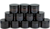 Vivaplex, 12, Amber, 1 oz, Round Glass Jars, with Inner Liners and black Lids
