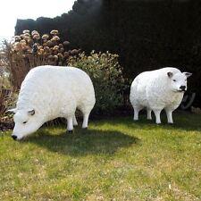SET 2 BIGGI MERINO SCHAFE 100 cm weiß Patina Deko Garten Tier Figur BAUERNHOF