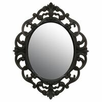 New Vintage Style Shabby Chic Oval Ornate Mirror Home Decor 40 x 30cm - Black