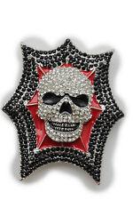 New Man Big Belt Buckle Skeleton Silver Metal Red Black Rhinestones Explosion