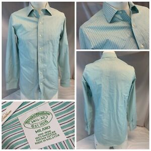 Brooks Brothers Milano Shirt 14.5 32 Green Stripe Cotton NWOT YGI G1-186