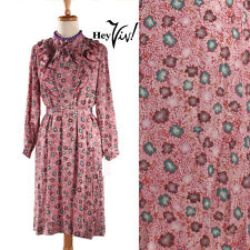 70s High Collar Raspberry Floral Vintage Dress - Josef Otten - Sz M - Hey Viv