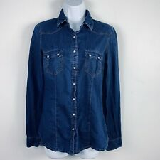 Forever 21 Womens Top Sz S Denim Blue Country Western Button Front Shirt Q13