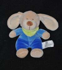 Peluche doudou chien lapin beige NICOTOY bleu 2 tons bandana vert 16 cm TTBE