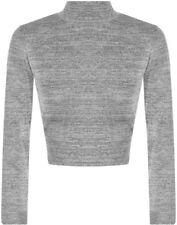 Camisas y tops de mujer de manga larga color principal gris de poliéster
