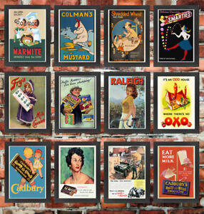 Framed High Quality Vintage Retro British Advertisement Wall Art Prints Posters
