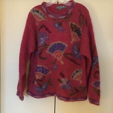 Icelandic Design MOHAIR Nordic WOOL Pullover CREWNECK Tunic Floral SWEATER  M