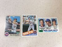 Lot of Three New York Mets Ron Gardenhire Autographed Baseball Cards