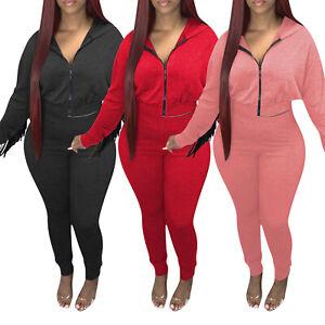 New Women Fashion Long Sleeves Tassel Zipper Hooded Patchwork Casual Pants Set