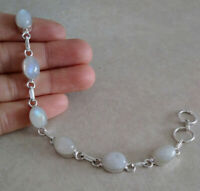 NATURAL OVAL RAINBOW MOONSTONE 925 STERLING SILVER LINK CHAIN BRACELET 8.5""