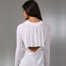 MASON Michelle Mason Drop Waist Long Sleeve Cut Out Open Back Dress white S NEW!