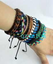 Wholesale lots 50 pcs Mixed Style Surfer Cuff Ethnic Tribal Leather Bracelets