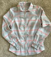 Women Sm COLUMBIA Button Up Plaid Flannel Omni Wick Shirt Silver Gray Coral Sage