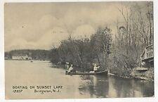 Boating on Sunset Lake Bridgeton Nj Vintage 1909 New Jersey Canoe Postcard