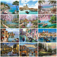 Scenery Paints By Number Canvas Painting Kits 50x40cm River Oil Painting By Num