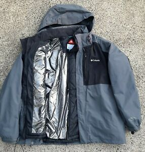 Columbia Mens Size XXL Grey Black 3-in-1 Interchange Omni-Heat Liner Ski Jacket