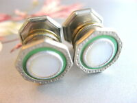 MOTHER OF PEARL & GREEN CELLULOID 1920'S ART DECO SNAP LINK OCTAGON  CUFFLINKS
