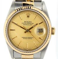 Rolex Mens Datejust 2Tone 18K Gold Stainless Steel Watch Tapestry Jubilee 16233