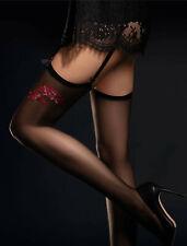 Bas sexy nylon noir voile motif rouge pour porte-jarretelles FIORE