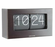 Karlsson FLIP Desk CLOCK DARK Brown WOOD & BLACK Free Standing BOXED